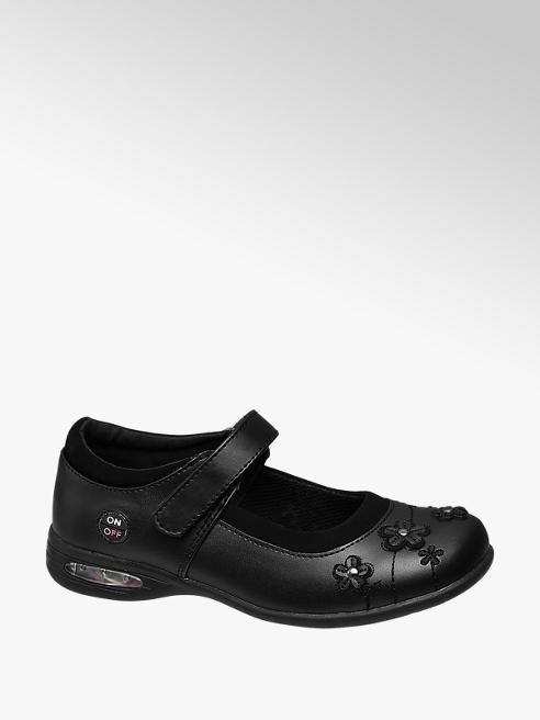 Graceland Junior Girl Black Flower Detail Bar Shoes - with Lights