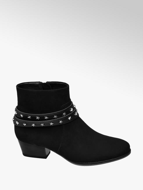 Graceland Junior Girl Black Star Strap Ankle Boots