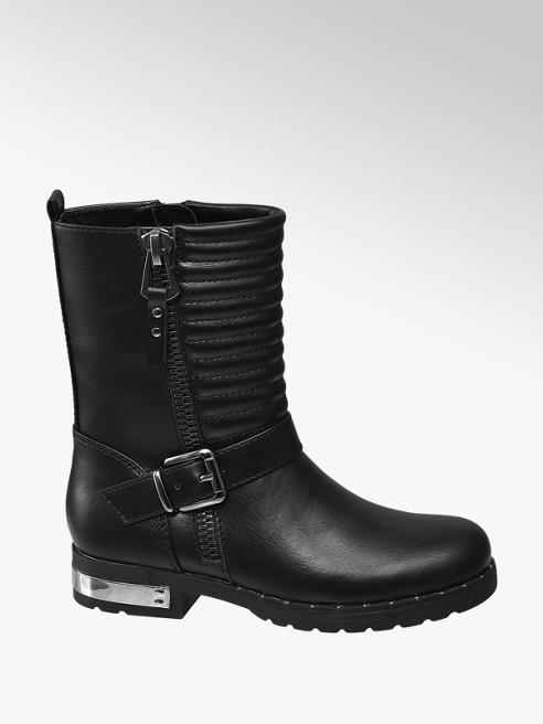 Graceland Junior Girl Black Tube Quilted Biker Ankle Boots