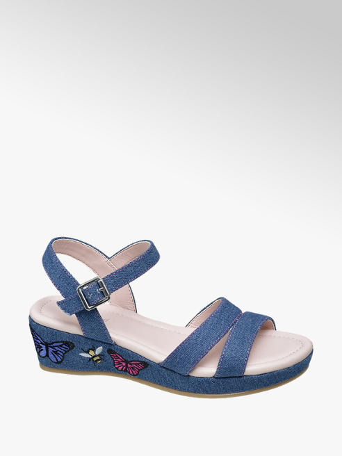 Graceland Junior Girl Denim Embroidered Wedge Sandals