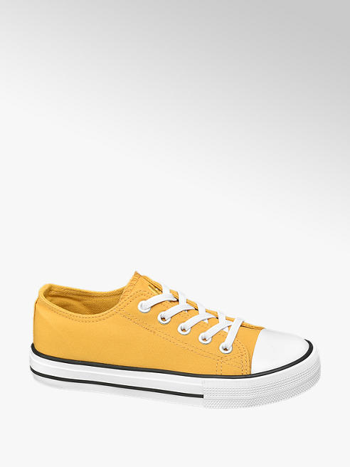 Graceland Junior Girls Yellow Elastic Lace Up Trainers