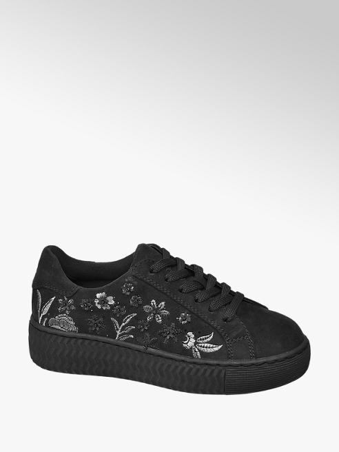 Graceland Junior Girls Black Embroidered Lace Up Trainers
