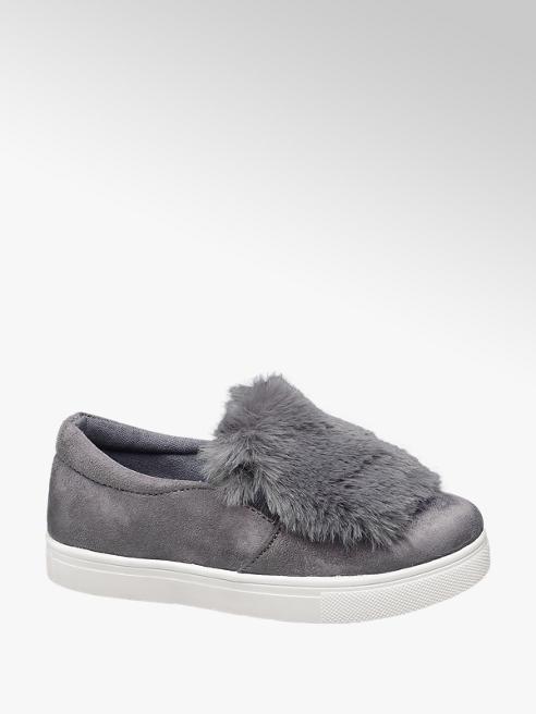 Graceland Junior Girl Grey Faux Fur Pumps