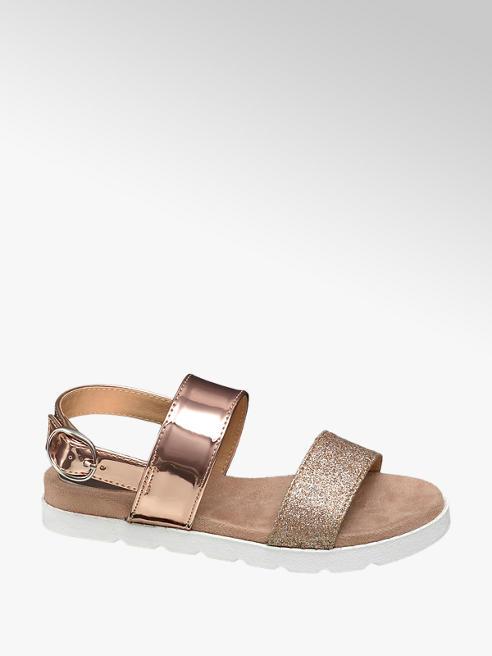Graceland Junior Girl Glitter/Metallic Footbed Sandals