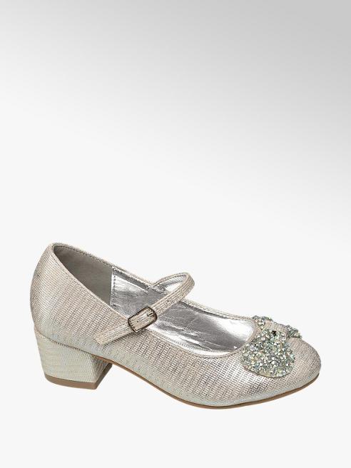 Graceland Junior Girl Silver Block Heel Party Shoes