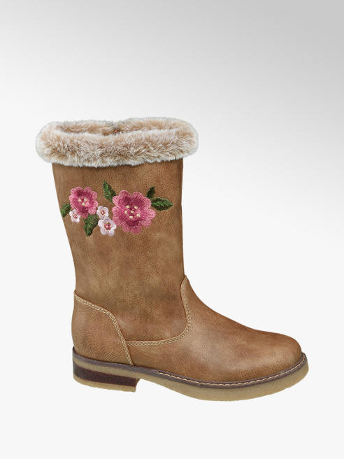 Graceland Junior Girl Tan Embroidered Calf Boot with Faux Fur Trim