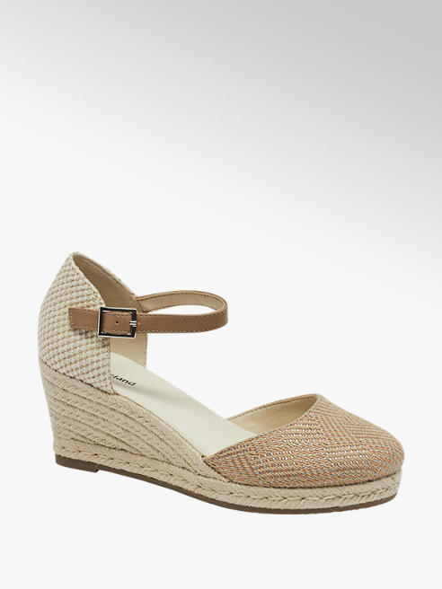 Graceland Keil Pumps in Beige mit Bast-Optik