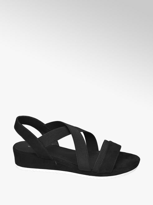 Graceland Keil Sandalen in Schwarz mit Elastriemen