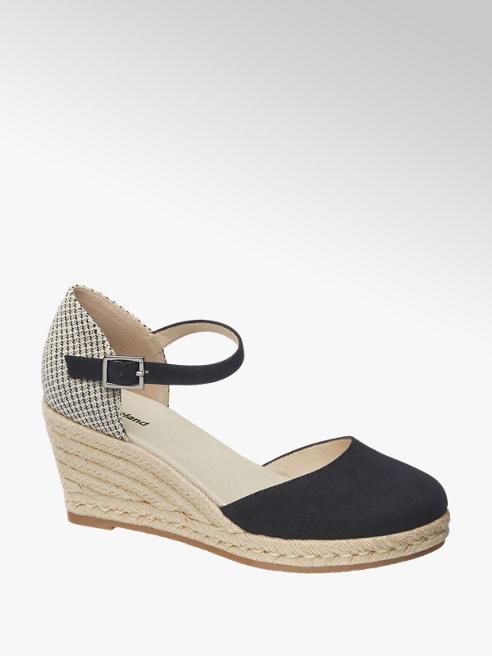 Graceland Keil Sandaletten in Beige-Dunkelblau