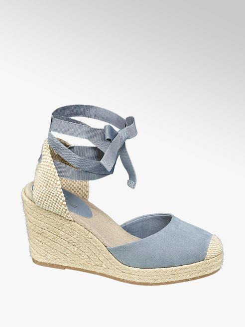 Graceland Keil Sandaletten in Blau mit Fessel