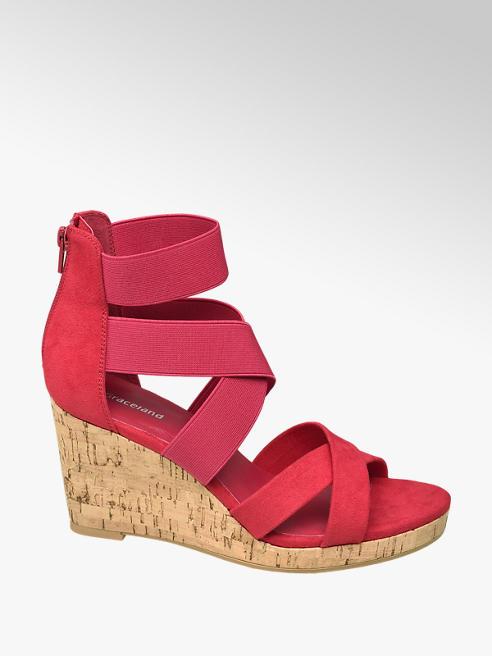 Graceland Keil Sandaletten in Rot