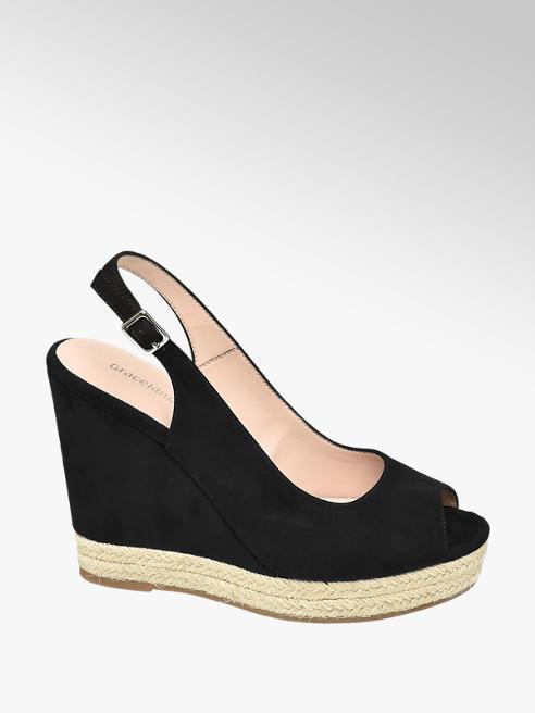 Graceland Keil Sandaletten in Schwarz mit Slingback