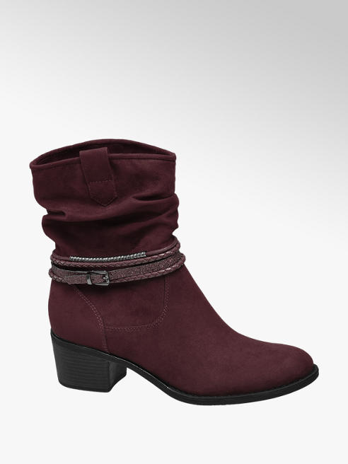Graceland Bordo Low Heeled Ankle Boots