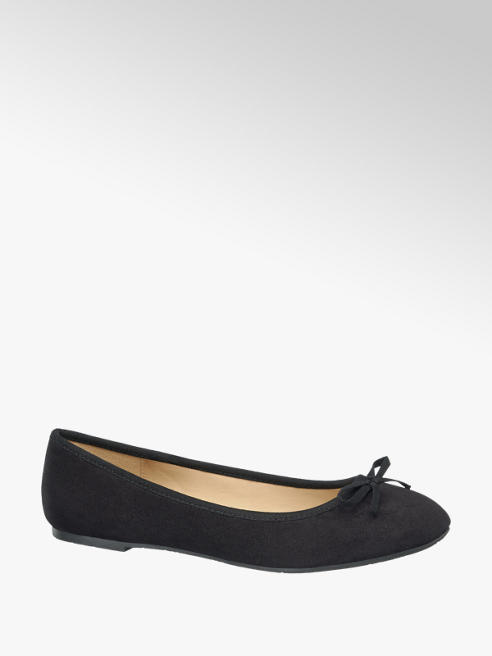 Graceland Ladies Black Ballerina Flat Shoes