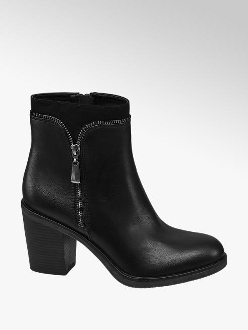 Graceland Black Zip Detail Heeled Ankle Boots