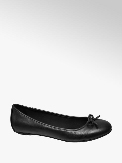 Graceland Ladies Black Bow Detail Ballerina