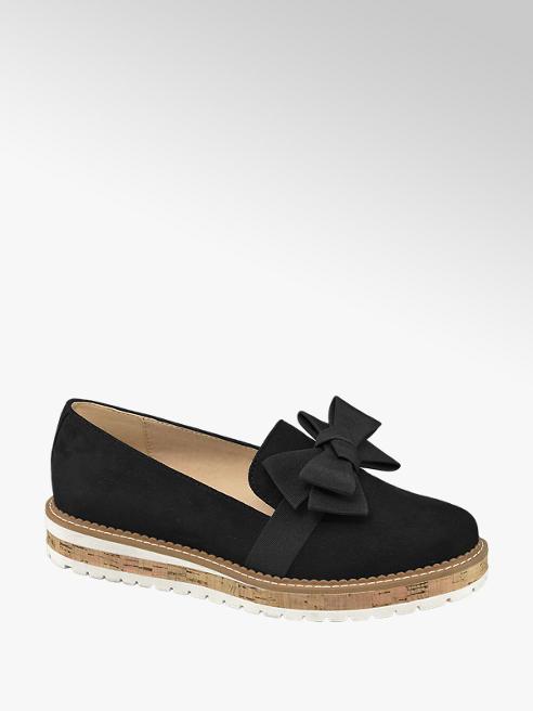 Graceland Black Bow Detail Loafers