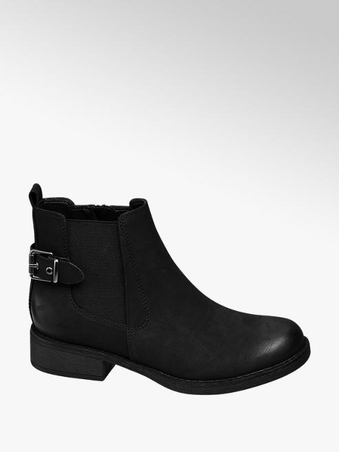 Graceland Black Buckle Strap Chelsea Boots