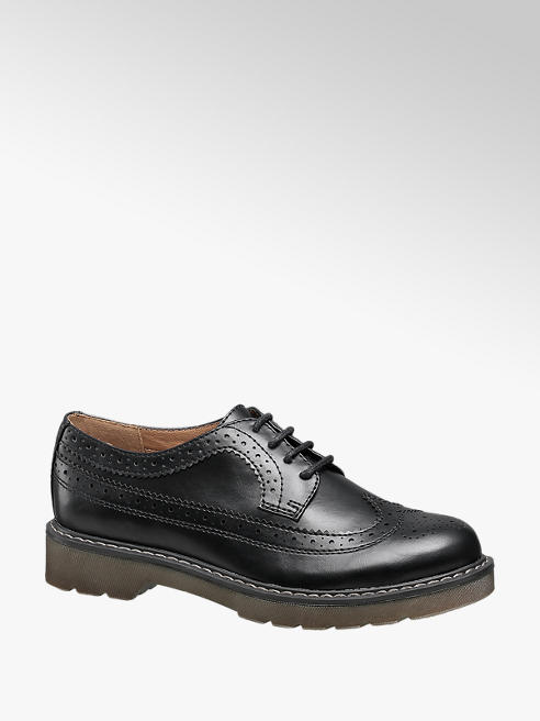 Graceland Ladies Black Chunky Lace-up Brogues