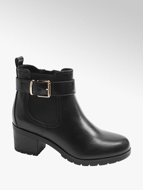Graceland Black Chunky Heeled Ankle Boots