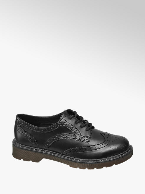 Graceland Ladies Black Chunky Lace Up Brogues