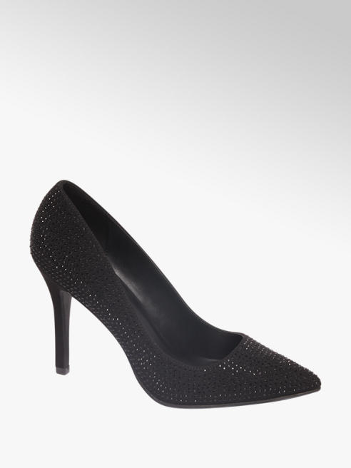 Graceland Black Diamante Stilleto High Heels