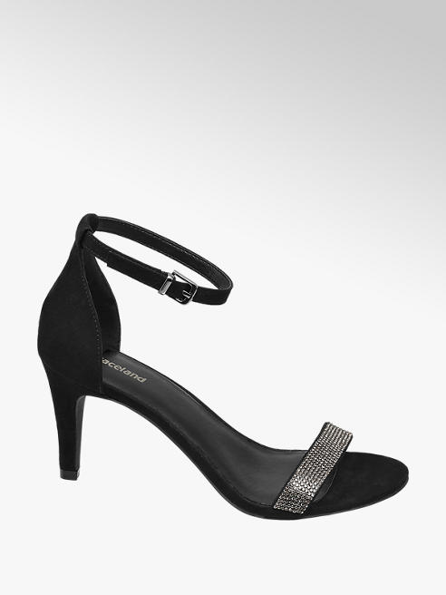 Graceland Black Diamante Strap Heels