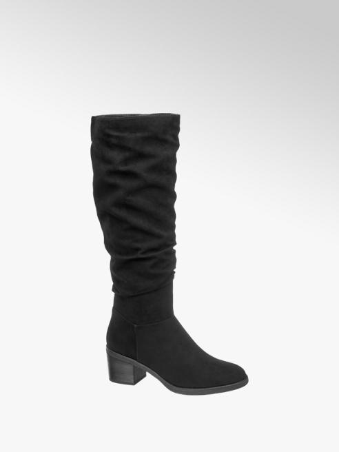 Graceland Black Gathered Long Leg Boots