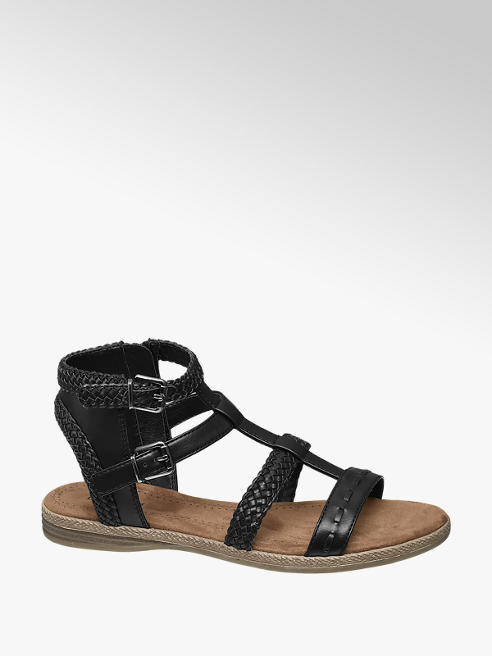 Graceland Black Gladiator Sandals