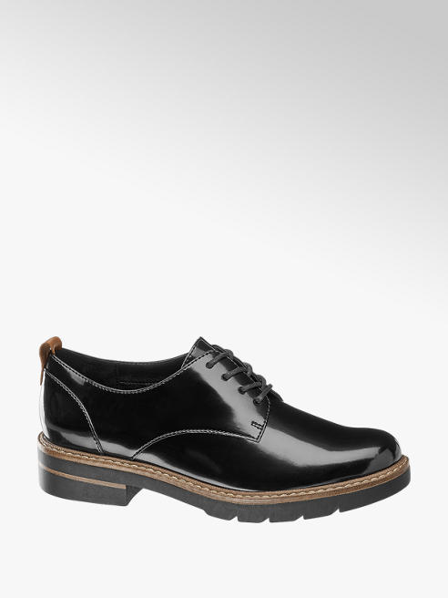 Graceland Black Patent Lace-up Brogues