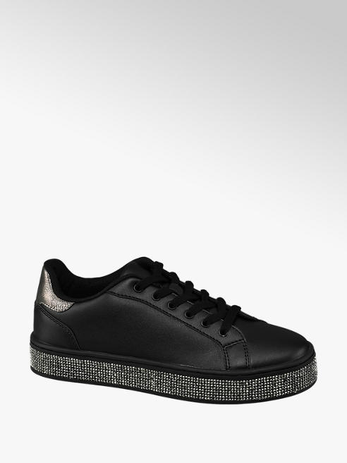 Graceland Black Diamante Lace-up Trainers