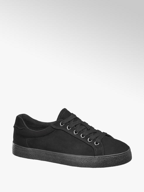 Graceland Ladies Black Lace-up Trainers