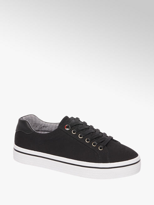 Graceland Ladies Black Stripe Lining Lace-up Trainers