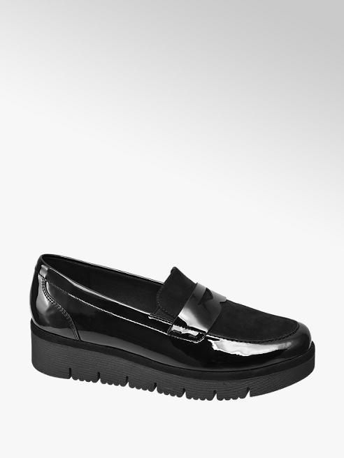 Ladies Black Patent Chunky Slip On Loafers by Graceland