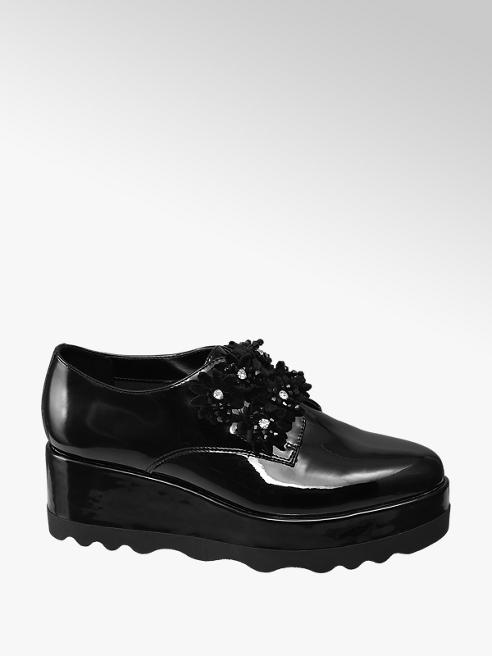 Graceland Black Chunky Patent Flower Detail Shoes