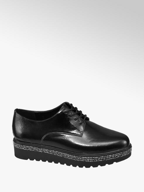 Graceland Black Chunky Stud Detail Lace-up Shoes