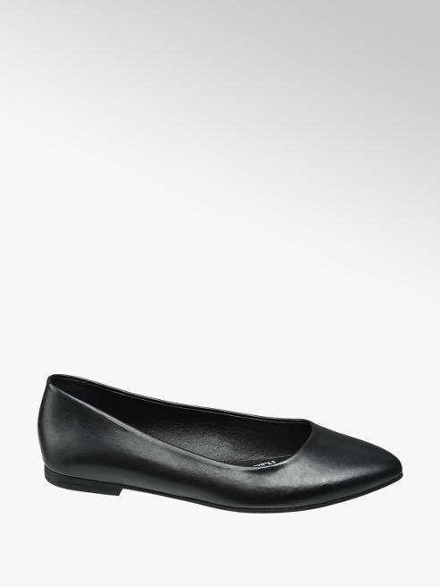 Graceland Ladies Black Patent Pointed Ballerinas
