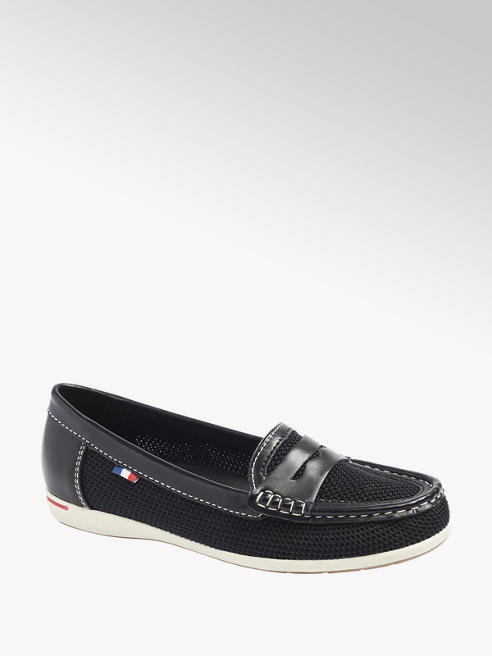 Graceland Ladies Black Slip-on Boat Shoes