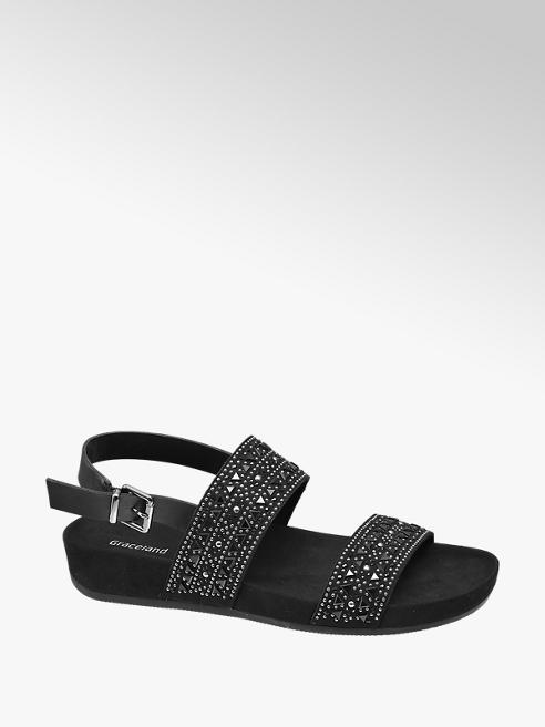 Graceland Black Studded Footbed Sandals