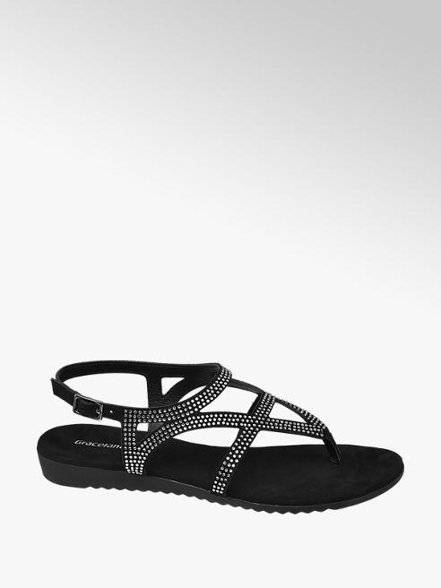 Graceland Black Studded Toe Post Sandals