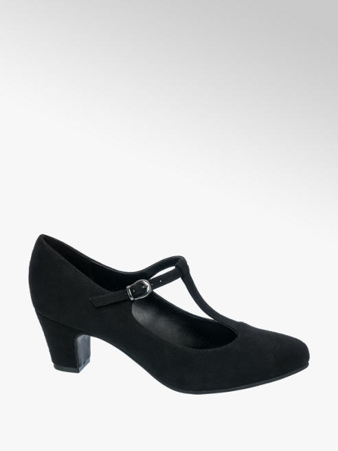 Graceland Black T-Bar Court Shoes