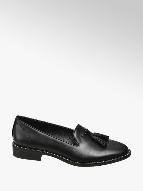 Graceland Black Stud Tassel Loafers