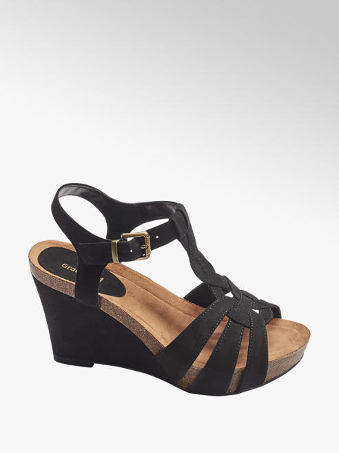 Graceland Black Wedge Heels