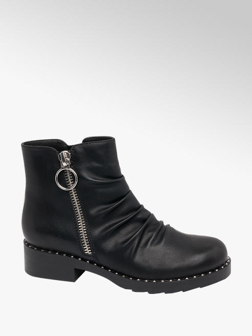 Graceland Black Chunky Stud Detail Ankle Boots
