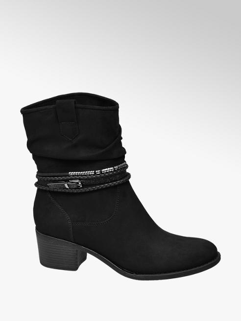 Graceland Black Block Heeled Ankle Boots
