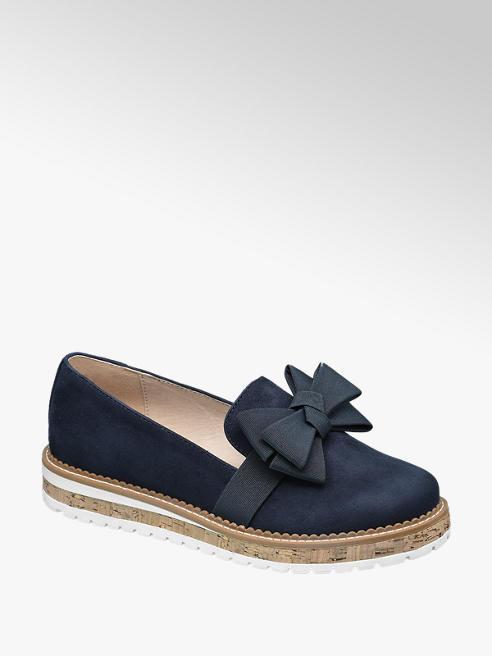 Graceland Bow Ribbon Detail Cork Heel Loafers