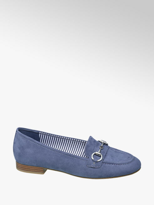 Graceland Blue Silver Bar Loafers