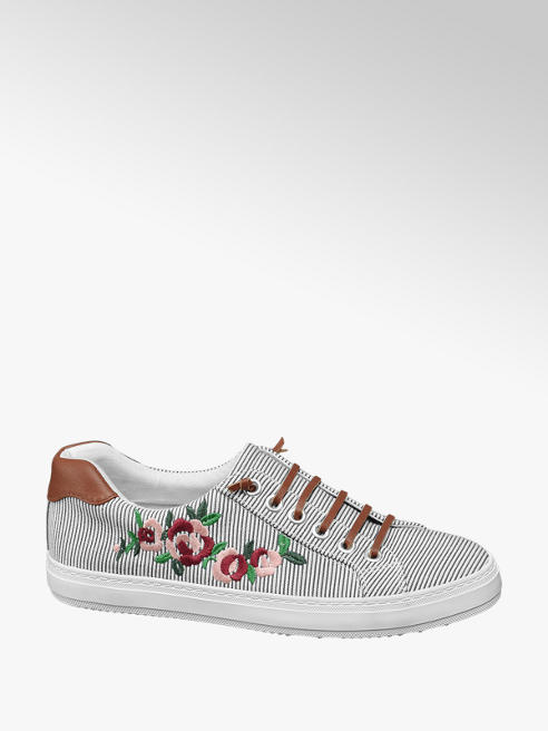 Graceland Blue and White Floral Embroidered Stripe Lace-up Trainers