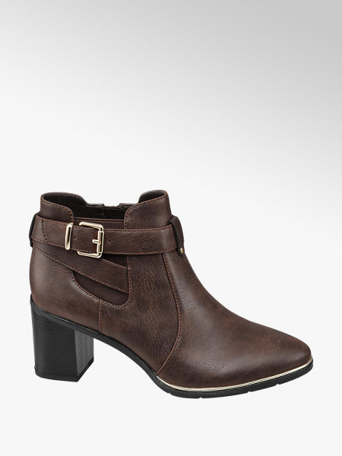 Graceland Brown Buckle Detial Heeled Ankle Boot