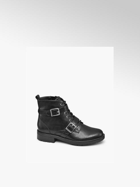 Graceland Black Lace Up Ankle Boots